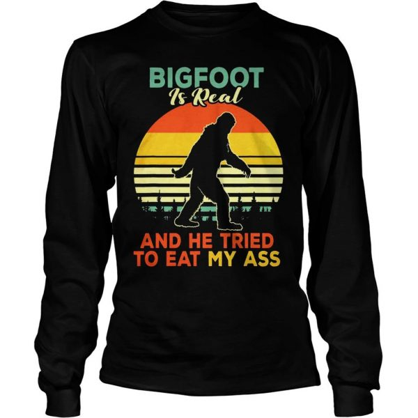 Bigfoot is real and he tried to eat my ass vintage sunset shirt Longsleeve Tee Unisex