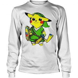 Pikachu link legend of zelda parody shirt hoodie tank top Longsleeve Tee Unisex