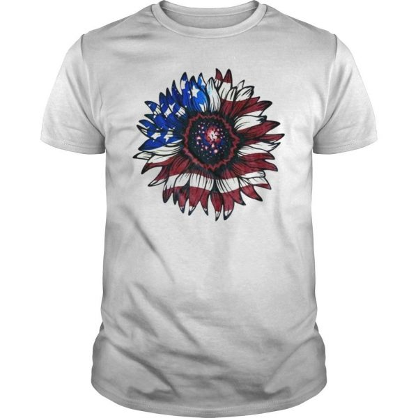 American flag sunflower shirt