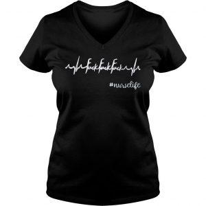 [Hot item] Heartbeat fuck fuck fuck nurselife shirt Ladies V-Neck