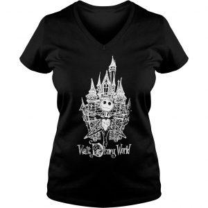 Jack Skellington at Cinderella Castle shirt Ladies V-Neck