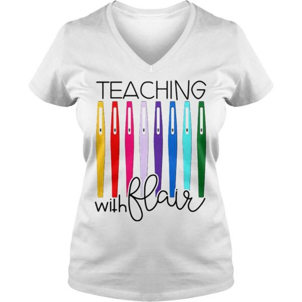 Pens teaching with flair shirt Ladies V-Neck
