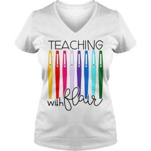 Pens teaching with flair shirt Ladies V-Neck