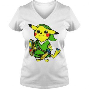 Pikachu link legend of zelda parody shirt hoodie tank top Ladies V-Neck