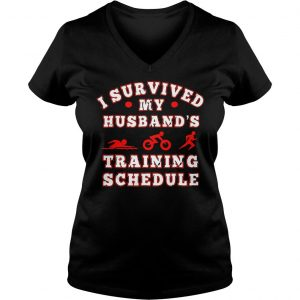 Swim bike run I survived my husbands training schedule shirt Ladies V-Neck