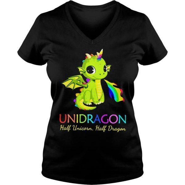 Unidragon half unicorn half unicorn shirt Ladies V-Neck