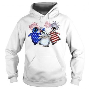 Penguin 4th July Independence Day American Flag firework shirt Hoodie