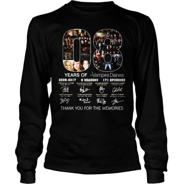 08 years of the Vampire Diaries thank you for the memories shirt Longsleeve Tee Unisex