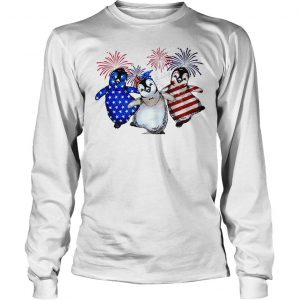 Penguin 4th July Independence Day American Flag firework shirt Longsleeve Tee Unisex