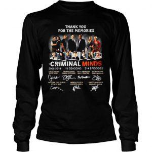 Thank you for the memories Criminal Minds 20052019 shirt Longsleeve Tee Unisex