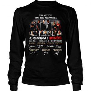 Thank you for the memories Criminal Minds 20052019 signature shirt Longsleeve Tee Unisex