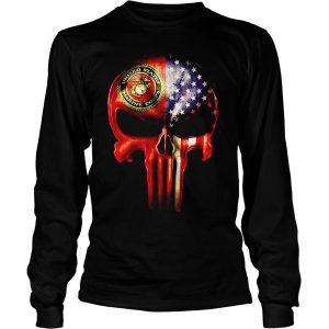 The Punisher United States Marine Corps America flag shirt Longsleeve Tee Unisex