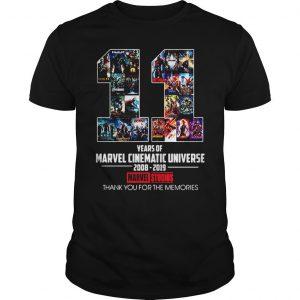 11 years of Marvel cinematic universe 2008 2019 Marvel Studios shirt Shirt
