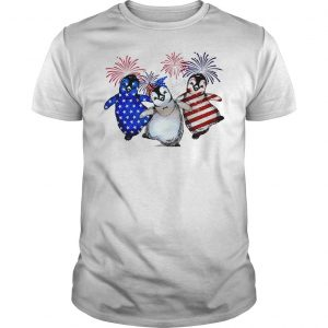 Penguin 4th July Independence Day American Flag firework shirt