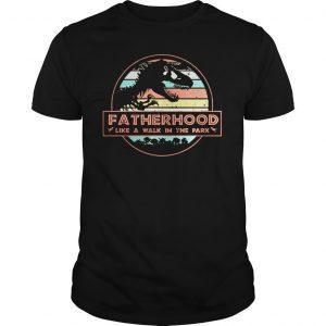 Sunset Dinosaur Fatherhood Like A Walk In The Park Shirt Shirt