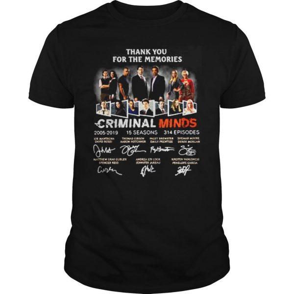 Thank you for the memories Criminal Minds 20052019 shirt Shirt