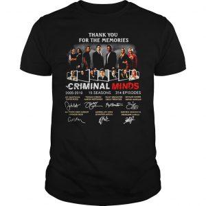 Thank you for the memories Criminal Minds 20052019 signature shirt