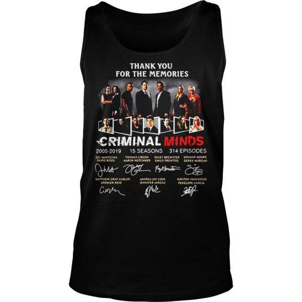 Thank you for the memories Criminal Minds 20052019 signature shirt TankTop