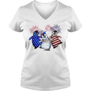 Penguin 4th July Independence Day American Flag firework shirt Ladies V-Neck
