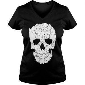 Sketchy Cat Skull shirt Ladies V-Neck