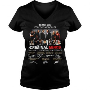 Thank you for the memories Criminal Minds 20052019 signature shirt Ladies V-Neck