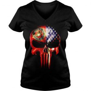 The Punisher United States Marine Corps America flag shirt Ladies V-Neck