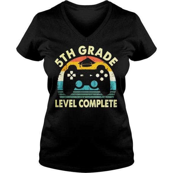 Vintage 5th grade level complete video gamer graduation shirt Ladies V-Neck