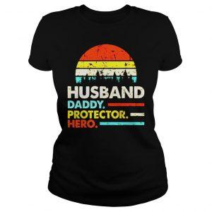 Husband daddy protector hero vintage sunset shirt Classic Ladies Tee