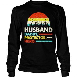 Husband daddy protector hero vintage sunset shirt Longsleeve Tee Unisex