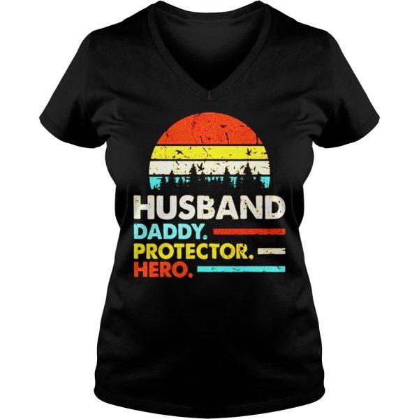 Husband daddy protector hero vintage sunset shirt Ladies V-Neck