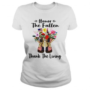 Veteran boots flower honor the fallen thank the living 4th of July independence day shirt Classic Ladies Tee