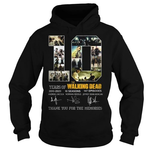 10 years of The Walking Dead thank you for the memories shirt Hoodie
