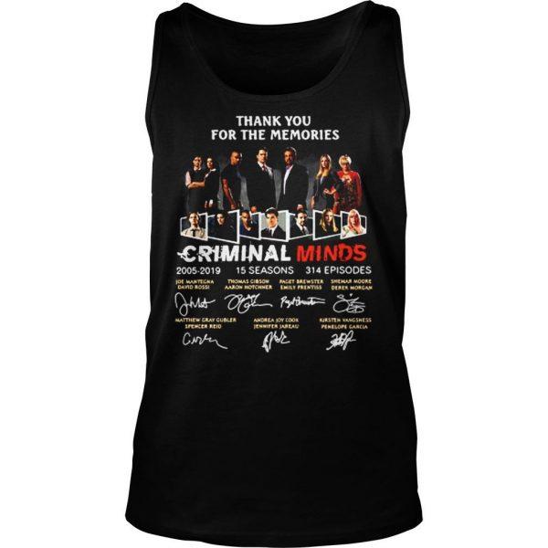 Thank you for the memories Criminal minds signature shirt TankTop