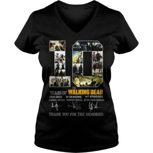 10 years of The Walking Dead thank you for the memories shirt Ladies V-Neck
