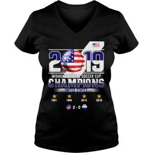 2019 WOMENS WORLD SOCCER CUP CHAMPIONS UNITED STATES 20 SHIRT Ladies V-Neck
