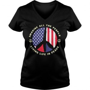 PEACE SIGN IMAGINE ALL THE PEOPLE LIVING LIFE IN PEACE SHIRT Ladies V-Neck