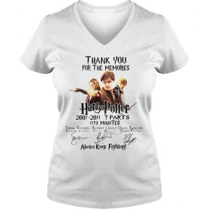 Thank You For The Memories Harry Potter Always Keep Fighting Shirt Ladies V-Neck