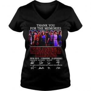 Thank you for the memories Stranger Things 2016 2019 3 seasons 25 episodes signature shirt Ladies V-Neck