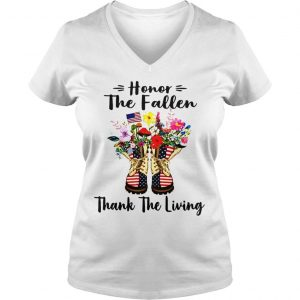 Veteran boots flower honor the fallen thank the living 4th of July independence day shirt Ladies V-Neck