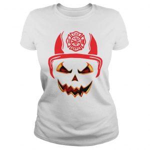 Halloween Pumpkin Firefighter Fireman Fire shirt Classic Ladies Tee