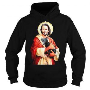 Saint Keanu Reeves Jesus hug a dog shirt Hoodie
