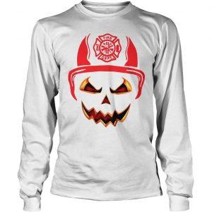 Halloween Pumpkin Firefighter Fireman Fire shirt Longsleeve Tee Unisex