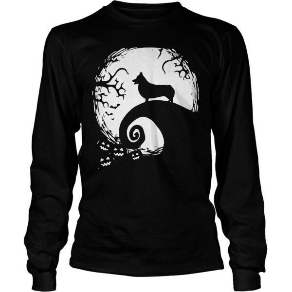 Pembroke Welsh Corgi in the midnight moon Halloween shirt Longsleeve Tee Unisex