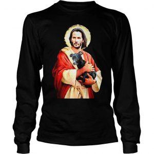 Saint Keanu Reeves Jesus hug a dog shirt Longsleeve Tee Unisex