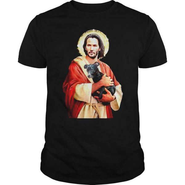 Saint Keanu Reeves Jesus hug a dog shirt Shirt