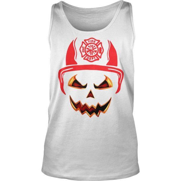 Halloween Pumpkin Firefighter Fireman Fire shirt TankTop