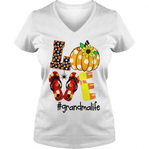 HALLOWEEN SUNFLOWER LOVE GRANDMA LIFE SHIRT Ladies V-Neck