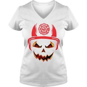 Halloween Pumpkin Firefighter Fireman Fire shirt Ladies V-Neck