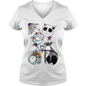 Jack Skellington and Sally cat shirt Ladies V-Neck