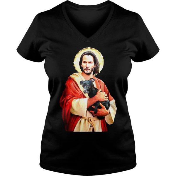 Saint Keanu Reeves Jesus hug a dog shirt Ladies V-Neck